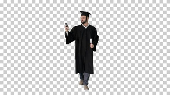 Thumbnail for Man wearing the graduation robe walking, Alpha Channel
