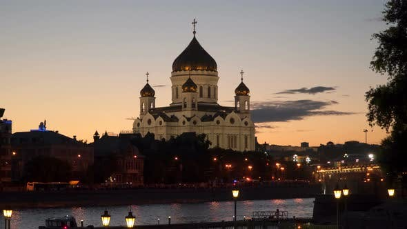 Thumbnail for Cathedral of Christ the Saviour on the Bank of the Moscow River  Night Time