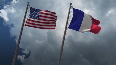 Waving Flags Of The United States And France 4K