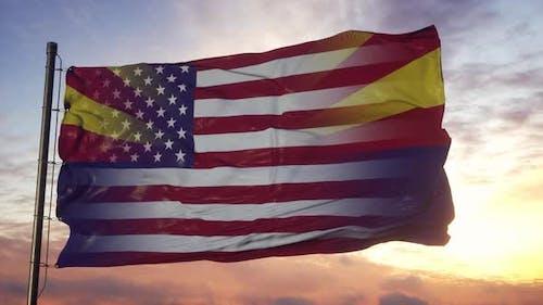 Arizona and USA Flag on Flagpole
