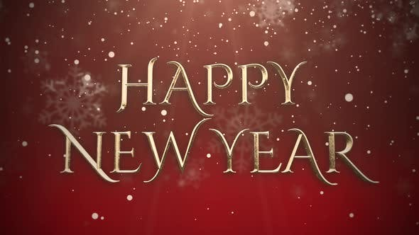 Thumbnail for Animated closeup Happy New Year text, gold particles on red background
