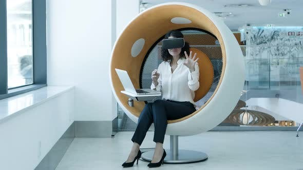 Thumbnail for Cheerful Businesswoman Enjoying Virtual Reality