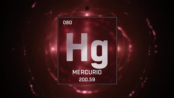 Thumbnail for Mercury as Element 80 of the Periodic Table on Red Background in Spanish Language