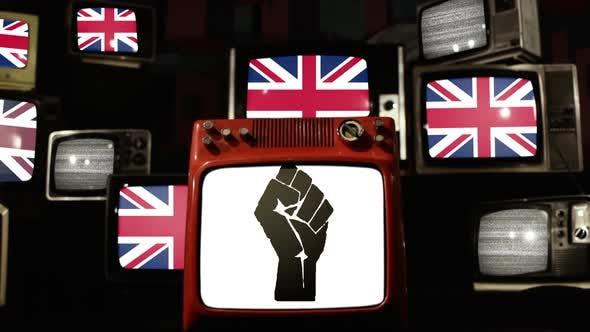 Raised Fist and UK Flags on Retro TVs.