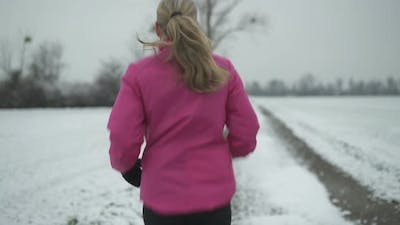 Following Running Woman With Long Hair