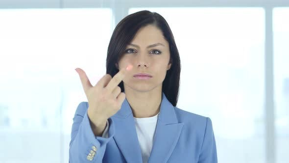 Thumbnail for Portrait of Angry Woman Showing Middle Finger