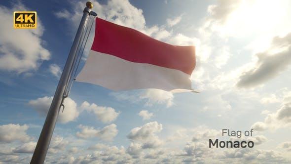 Thumbnail for Monaco Flag on a Flagpole - 4K