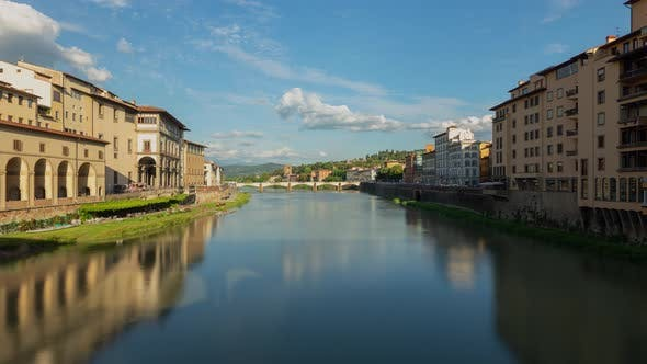 Time Lapse of the the Arno River in Florence Italy