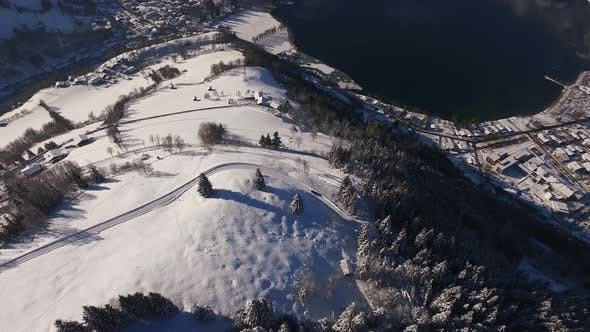 Thumbnail for Aerial view of Zeller See on a winter day