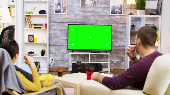 Back View of Couple Watching Tv at Home Green Screen
