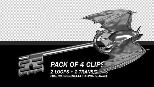 Magic Key - Silver Bat - Pack of 4