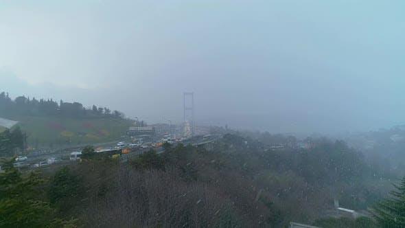 Thumbnail for Istanbul Bosphorus Bridge Heavy Snowing Aerial View