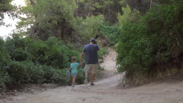 Thumbnail for Father and Son Walking Away in Forest