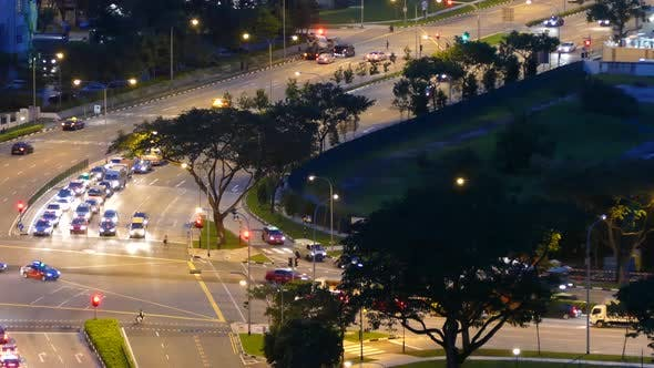 Time lapse evening traffic in Singapore