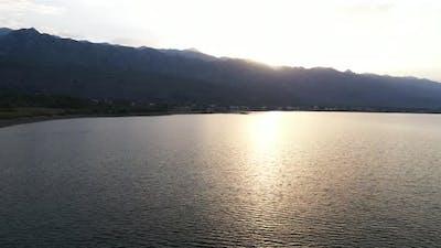 Sea and mountains sunrise
