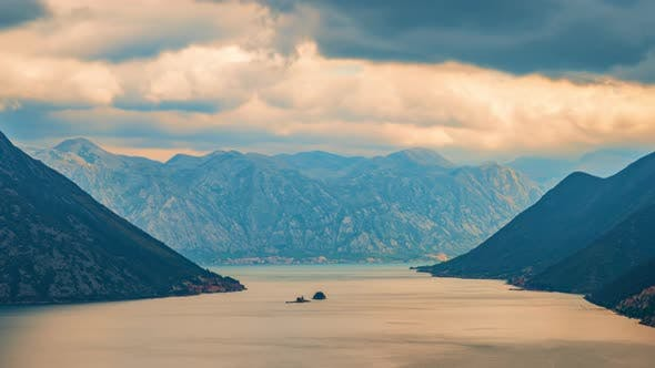 The Cloudy Sky of the Side of the Kotor Bay, the Cyclone Forms Thunderclouds
