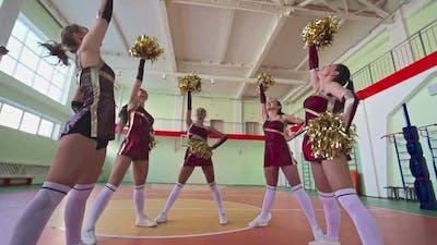 Beautiful Cheerleader Girls in Circle