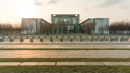 Hyper lapse of German chancellery in central Berlin government disctrict