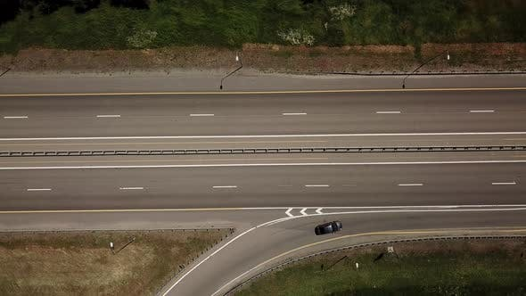 Thumbnail for Top Down View of Highway Traffic and Moving Cars