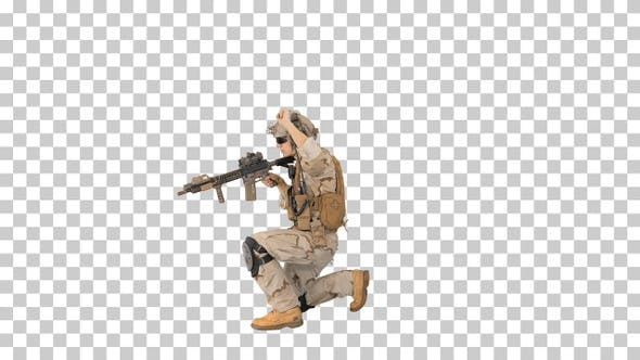 Soldier walking aiming with rifle and using radio, Alpha Channel