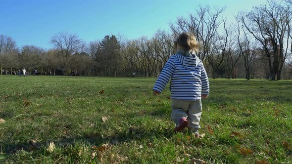 Thumbnail for Cute Child   Walking In Autumn Nature