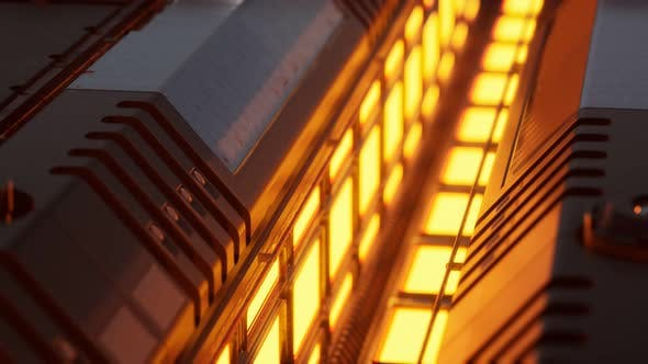 Lumières jaunes et panneaux métalliques dans l'intérieur futuriste