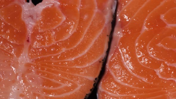 Thumbnail for Fresh Red Salmon Texture. Closeup, Close Up Macro Fish Steak with Lemon and Spices