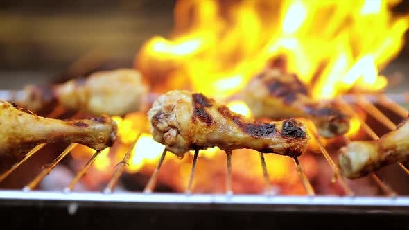 Thumbnail for Grilled Chicken BBQ Cooked with a Fire