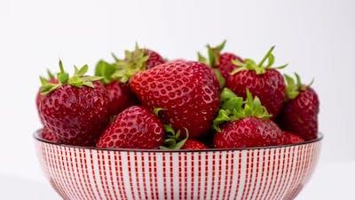 Macro Shot of Strawberries on White