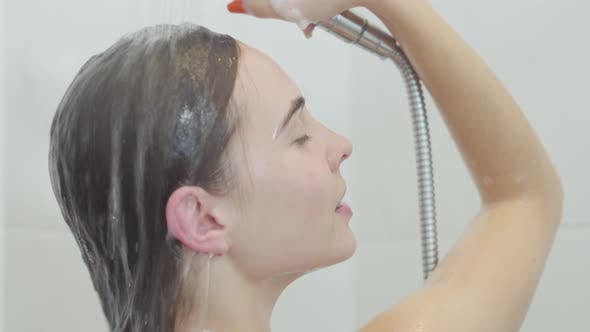 Thumbnail for Charming Caucasian Woman Taking a Shower at Home or at the Hotel