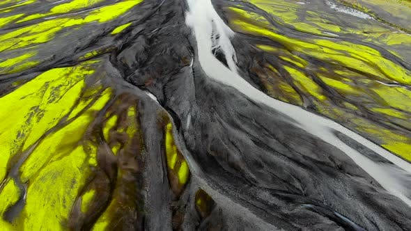 Aerial Top Down View of Glacial River in Iceland