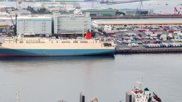 Timelapse Cargo Vessel Moors at Tokyo Container Terminal