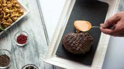 Steak and Cognac Sauce.