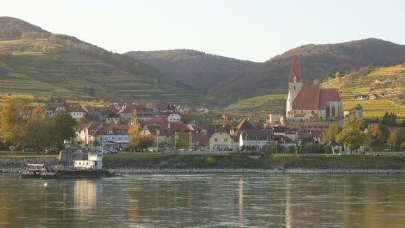 View Of Duernstein Town On A  The Danube River Bank