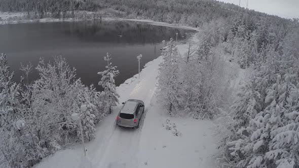 Thumbnail for Car Getting To Winter Recreation Through Pine Wood, Aerial View