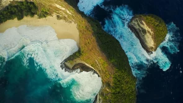 Thumbnail for The Famous Beach and Beautiful in Nusa Penida Named Pantai Kelingking in Bali Indonesia. Aerial View