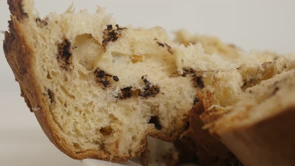 Thumbnail for Section of Italian panettone  cake 4K video
