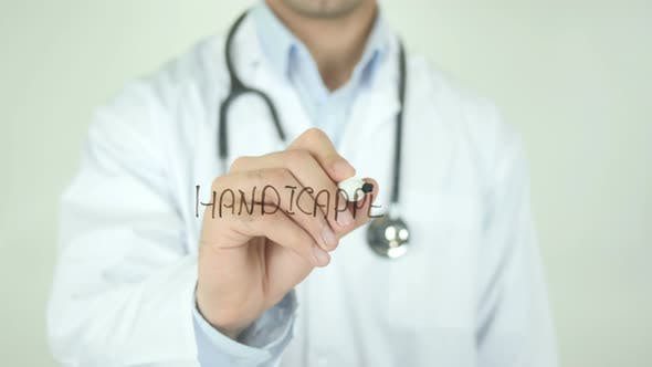 Handicapped, Doctor Writing on Transparent Screen
