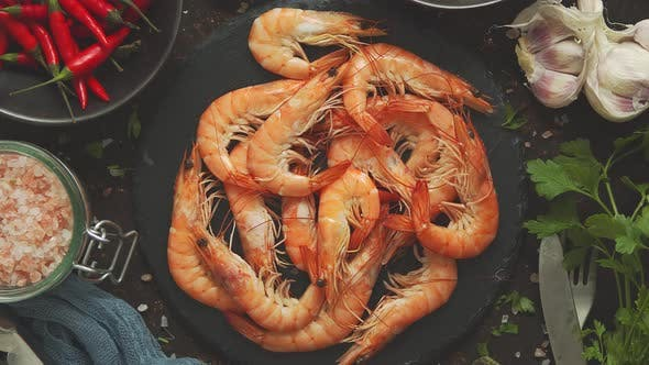 Thumbnail for Raw Fresh Prawns with Various Ingredients Such As Lemon Fresh Herbs, Garlic, Chilli Pepper