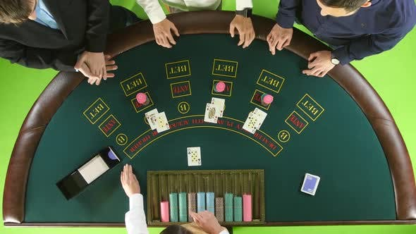Thumbnail for Players Play Poker in Casino at the Green Table. Green Screen. Top View