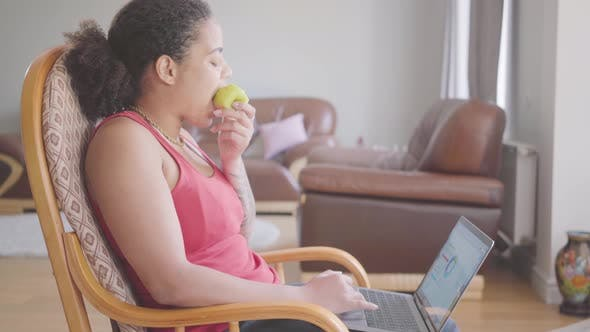 Thumbnail for Pretty African American Woman Sitting on the Armchair Analyzing Charts on Her Laptop While Eating