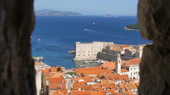 Thumbnail for Dubrovnik Old City View, Tourist Travel Destination, Mediterranean Sea, Croatia