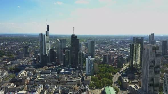AERIAL: Rising Up Over Frankfurt Am Main, Germany Skyline on Beautiful Summer Day