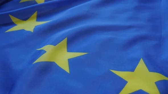 Thumbnail for Flag of Europe panning 1080p HD  footage - Panning over Europe Union flag stars FullHD 1920X1080 vid