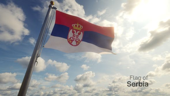 Serbia Flag on a Flagpole