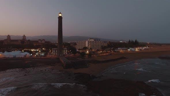 Gran Canaria Coast with Maspalomas Lighthouse, Aerial