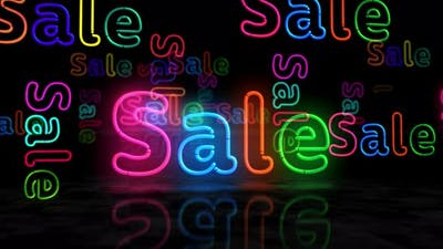 Sale symbol glowing neon 3d lights