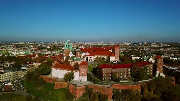 Aerial View. Wawel Royal Castle and Cathedral, Vistula River, Cracow Old City with Historic Churches