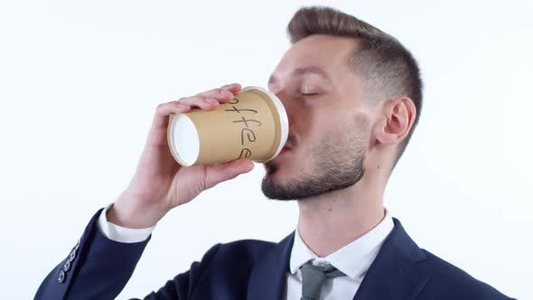 Thumbnail for Cheerful Businessman Drinking Coffee