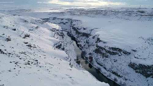 Aerial Shot Snowy Valley and River